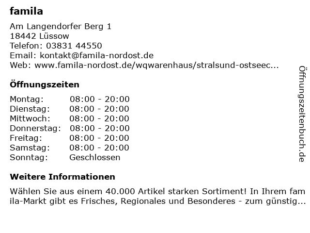famila Stralsund Ostseecenter in Lüssow: Adresse und Öffnungszeiten