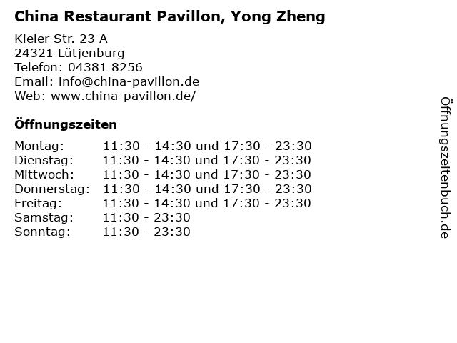 China Restaurant Pavillon, Yong Zheng in Lütjenburg: Adresse und Öffnungszeiten