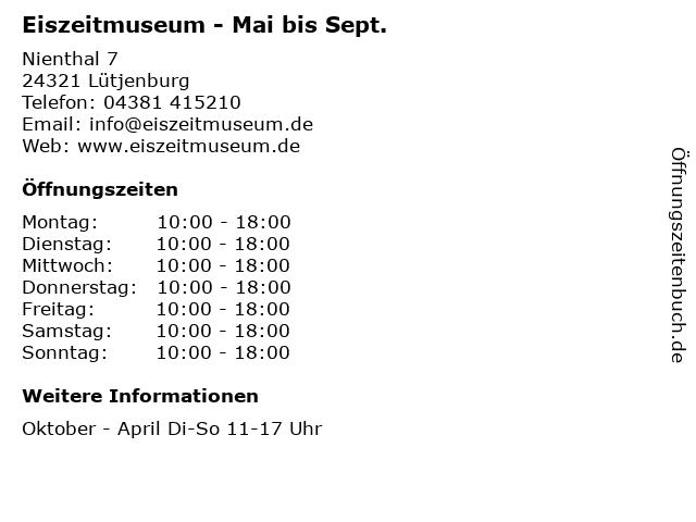Eiszeitmuseum - Mai bis Sept. in Lütjenburg: Adresse und Öffnungszeiten