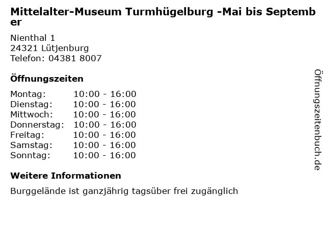 Mittelalter-Museum Turmhügelburg -Mai bis September in Lütjenburg: Adresse und Öffnungszeiten