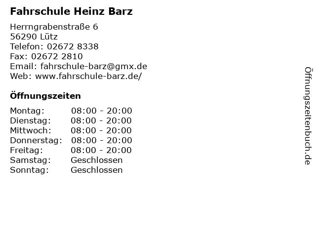 Fahrschule Heinz Barz in Lütz: Adresse und Öffnungszeiten