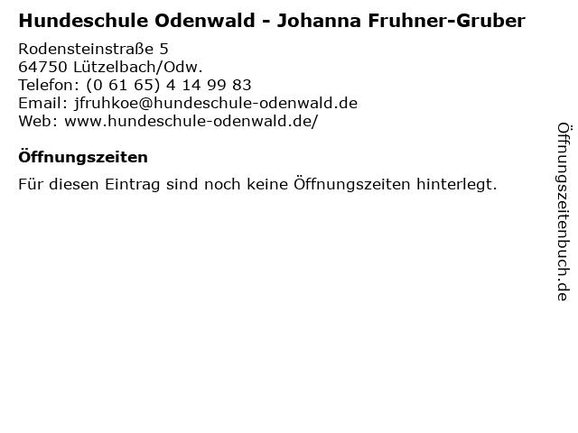 Hundeschule Odenwald - Johanna Fruhner-Gruber in Lützelbach/Odw.: Adresse und Öffnungszeiten