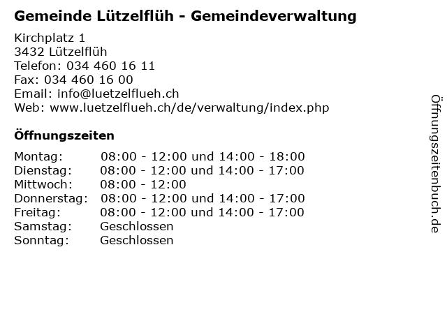 Gemeinde Lützelflüh - Gemeindeverwaltung in Lützelflüh: Adresse und Öffnungszeiten