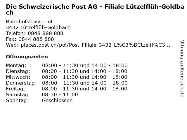 Die Schweizerische Post AG - Filiale Lützelflüh-Goldbach in Lützelflüh-Goldbach: Adresse und Öffnungszeiten