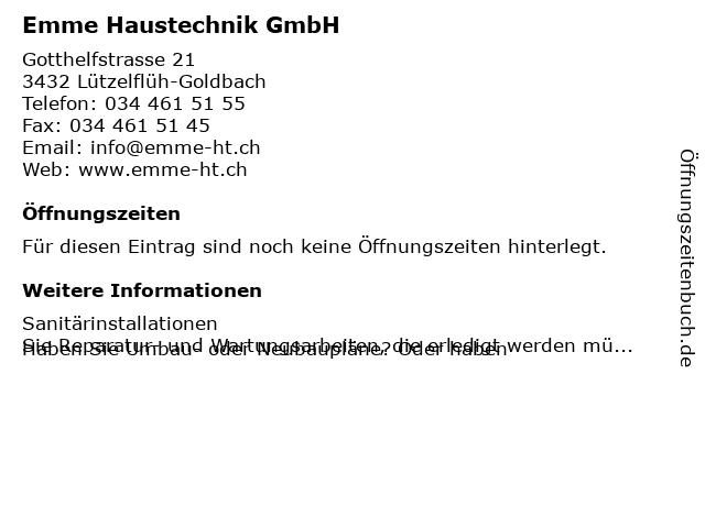 Emme Haustechnik GmbH in Lützelflüh: Adresse und Öffnungszeiten