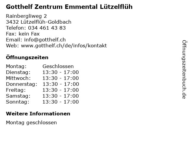 Gotthelf Zentrum Emmental Lützelflüh in Lützelflüh-Goldbach: Adresse und Öffnungszeiten