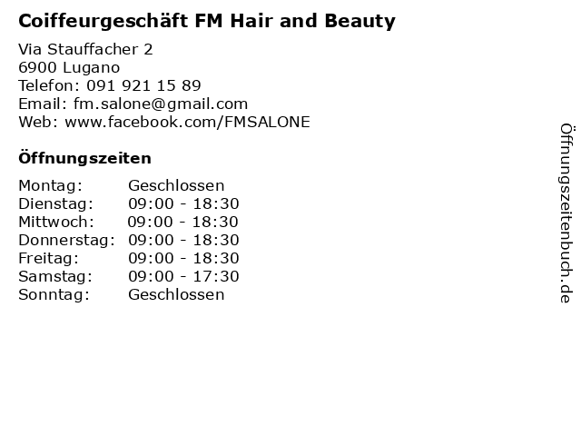 Coiffeurgeschäft FM Hair and Beauty in Lugano: Adresse und Öffnungszeiten