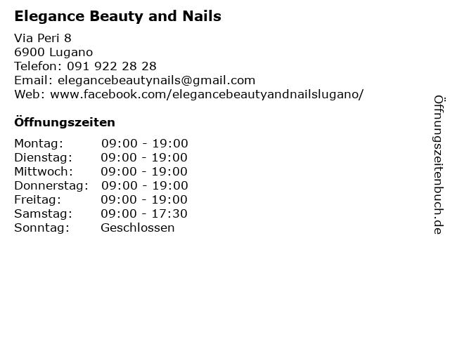 Elegance Beauty and Nails in Lugano: Adresse und Öffnungszeiten