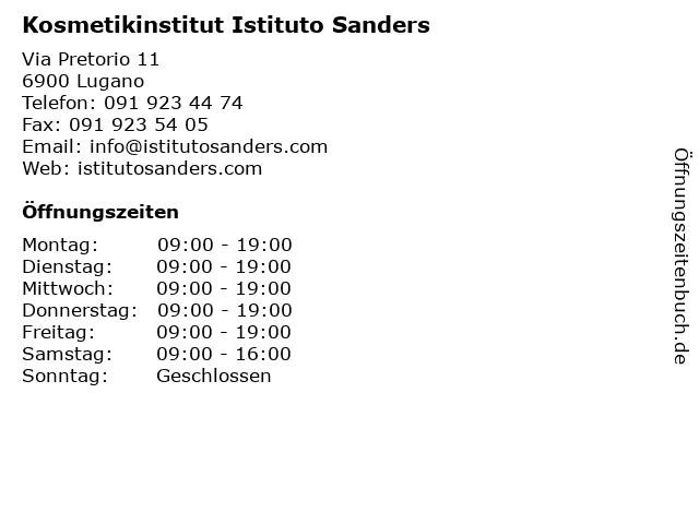 Kosmetikinstitut Istituto Sanders in Lugano: Adresse und Öffnungszeiten