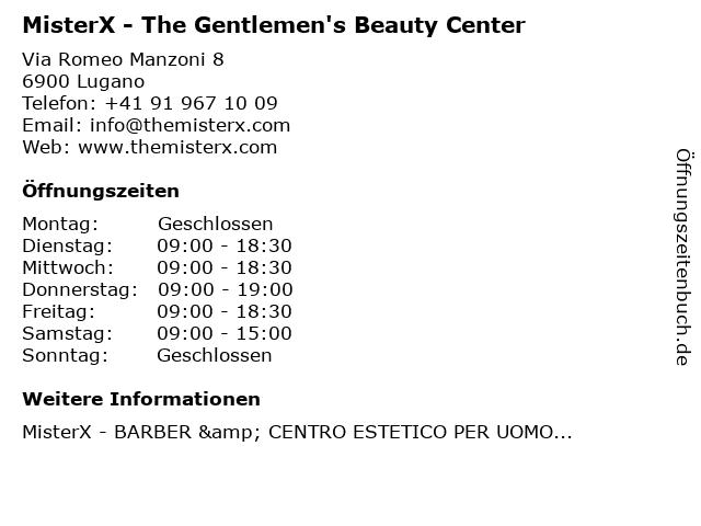 MisterX - The Gentlemen's Beauty Center in Lugano: Adresse und Öffnungszeiten