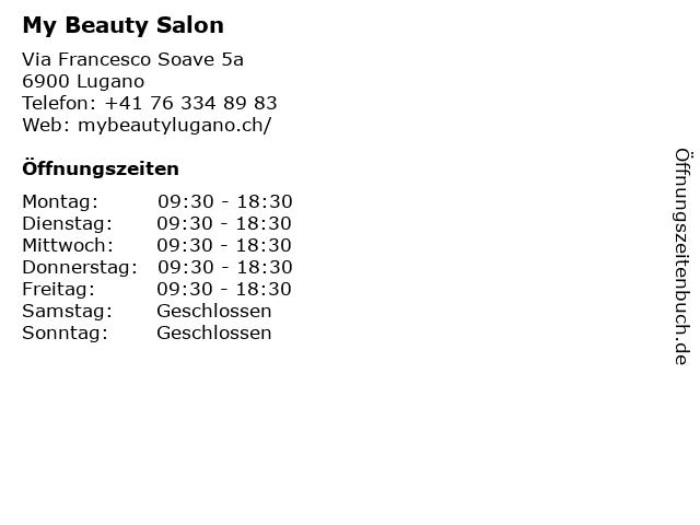 My Beauty Salon in Lugano: Adresse und Öffnungszeiten
