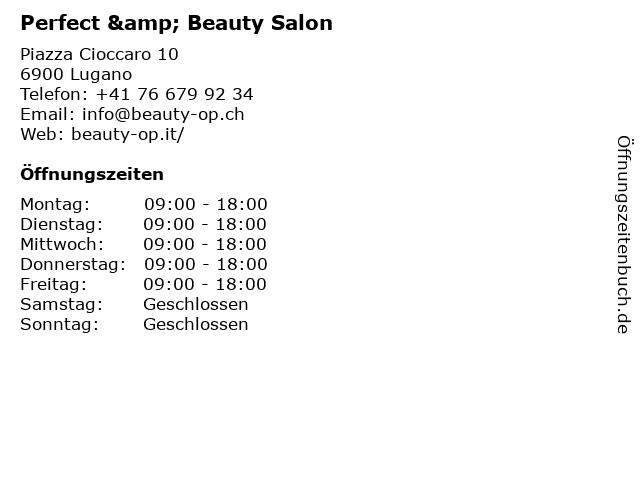 Perfect & Beauty Salon in Lugano: Adresse und Öffnungszeiten