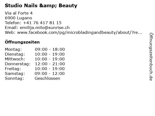 Studio Nails & Beauty in Lugano: Adresse und Öffnungszeiten