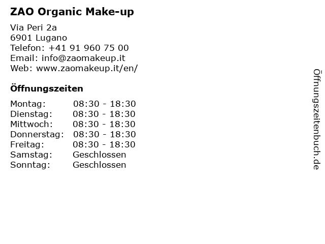 ZAO Organic Make-up in Lugano: Adresse und Öffnungszeiten
