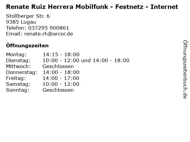 Renate Ruiz Herrera Mobilfunk - Festnetz - Internet in Lugau: Adresse und Öffnungszeiten