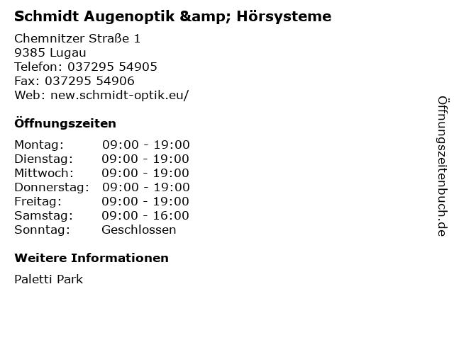 Schmidt Augenoptik & Hörsysteme in Lugau: Adresse und Öffnungszeiten