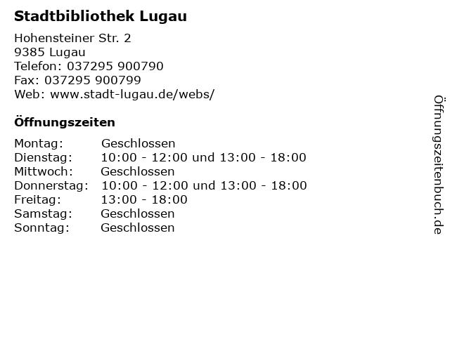 Stadtbibliothek Lugau in Lugau: Adresse und Öffnungszeiten