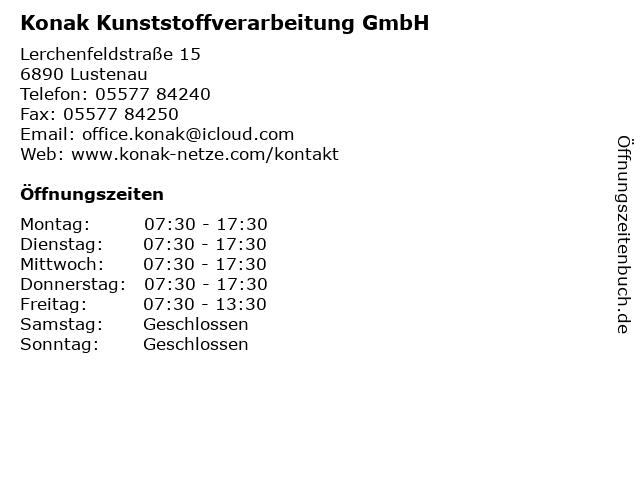 Konak Kunststoffverarbeitung GmbH in Lustenau: Adresse und Öffnungszeiten