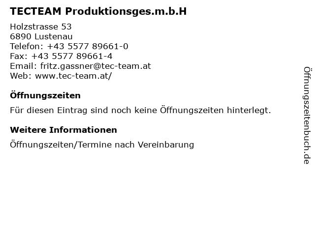 TECTEAM Produktionsges.m.b.H in Lustenau: Adresse und Öffnungszeiten
