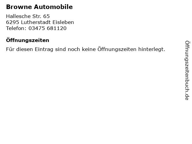 Browne Automobile in Lutherstadt Eisleben: Adresse und Öffnungszeiten