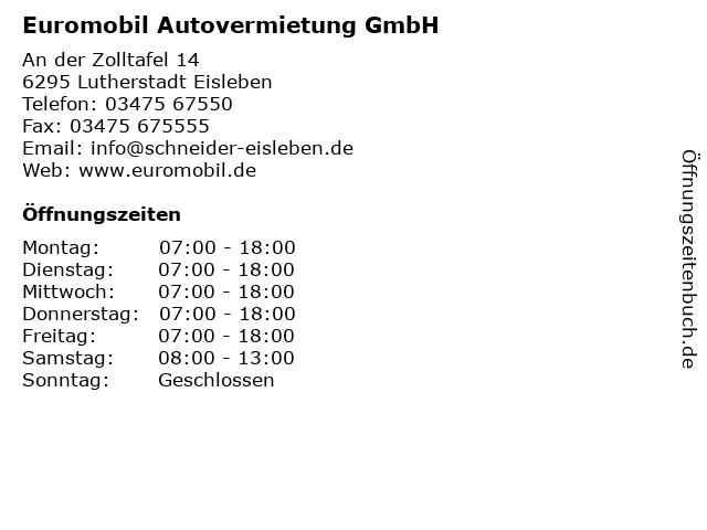 Euromobil Autovermietung GmbH in Lutherstadt Eisleben: Adresse und Öffnungszeiten