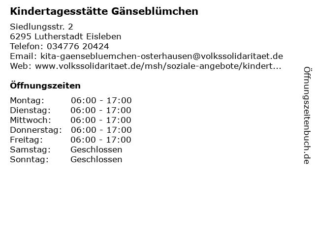 Volkssolidarität MSH e.V. Kindertagesstätte Gänseblümchen in Lutherstadt Eisleben: Adresse und Öffnungszeiten