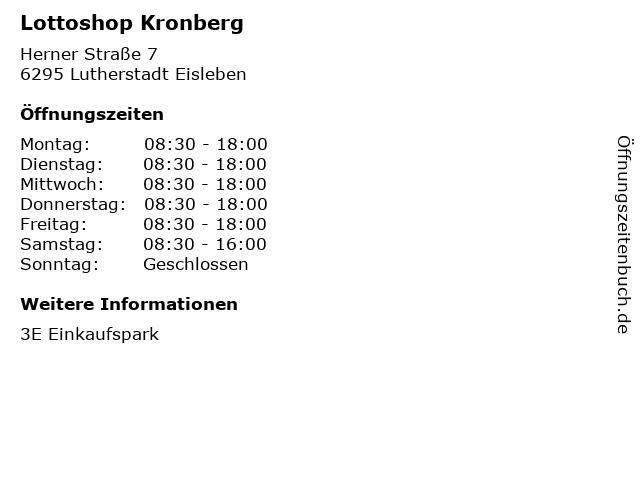 Lottoshop Kronberg in Lutherstadt Eisleben: Adresse und Öffnungszeiten