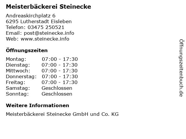 Meisterbäckerei Steinecke in Lutherstadt Eisleben: Adresse und Öffnungszeiten