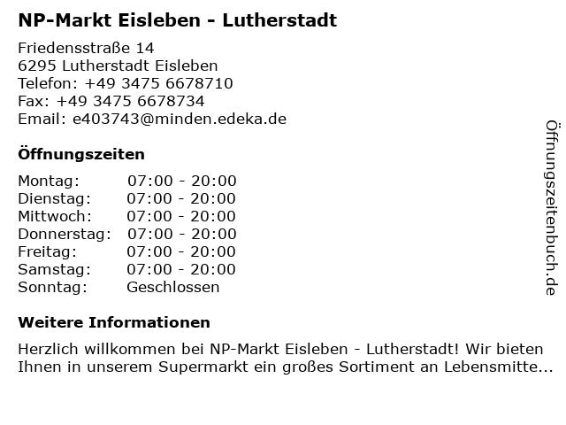 NP-Markt Eisleben - Lutherstadt in Lutherstadt Eisleben: Adresse und Öffnungszeiten