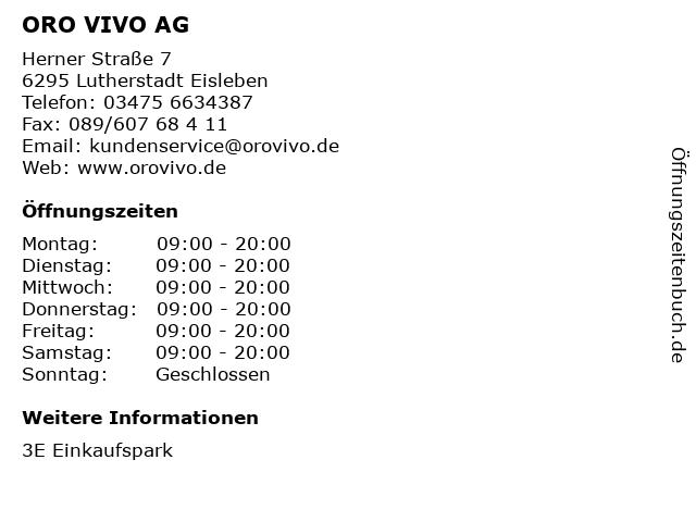 ORO VIVO AG in Lutherstadt Eisleben: Adresse und Öffnungszeiten