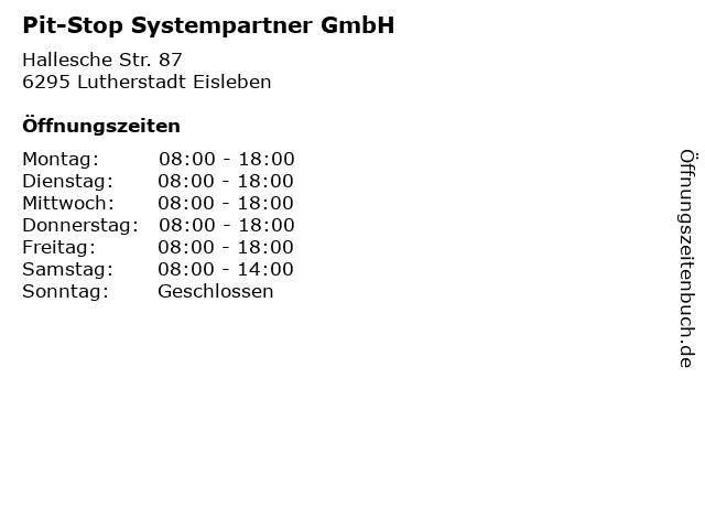 Pit-Stop Systempartner GmbH in Lutherstadt Eisleben: Adresse und Öffnungszeiten