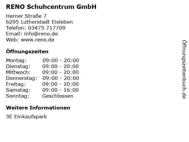 RENO Schuhcentrum GmbH in Lutherstadt Eisleben: Adresse und Öffnungszeiten