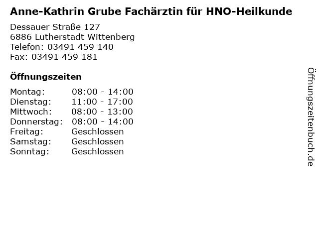 Anne-Kathrin Grube Fachärztin für HNO-Heilkunde in Lutherstadt Wittenberg: Adresse und Öffnungszeiten