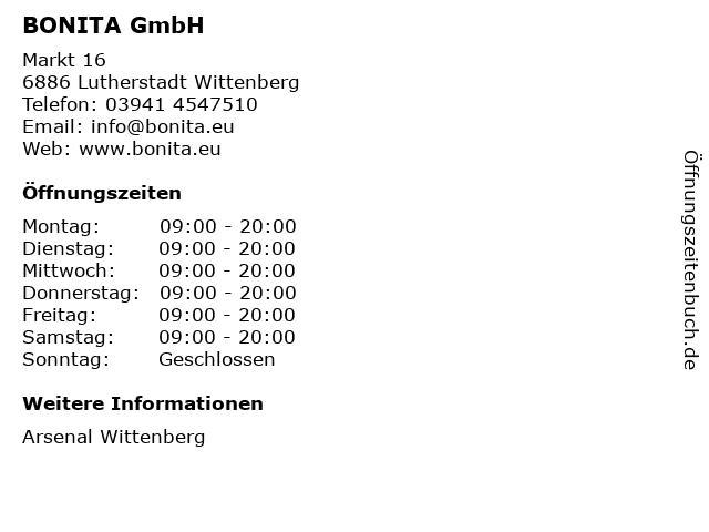 BONITA GmbH in Lutherstadt Wittenberg: Adresse und Öffnungszeiten