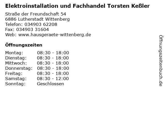 Elektroinstallation und Fachhandel Torsten Keßler in Lutherstadt Wittenberg: Adresse und Öffnungszeiten