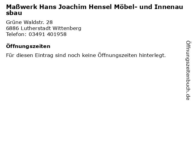 ᐅ Offnungszeiten Masswerk Hans Joachim Hensel Mobel Und
