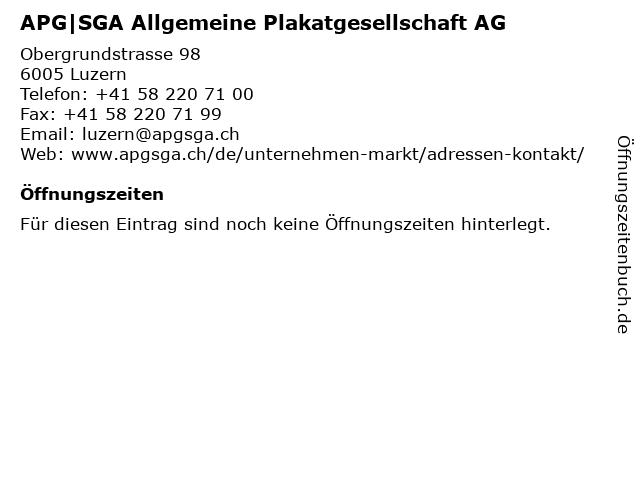 APG SGA Allgemeine Plakatgesellschaft AG in Luzern: Adresse und Öffnungszeiten
