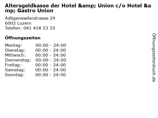 Altersgeldkasse der Hotel & Union c/o Hotel & Gastro Union in Luzern: Adresse und Öffnungszeiten
