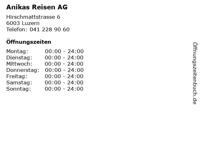 Anikas Reisen AG in Luzern: Adresse und Öffnungszeiten
