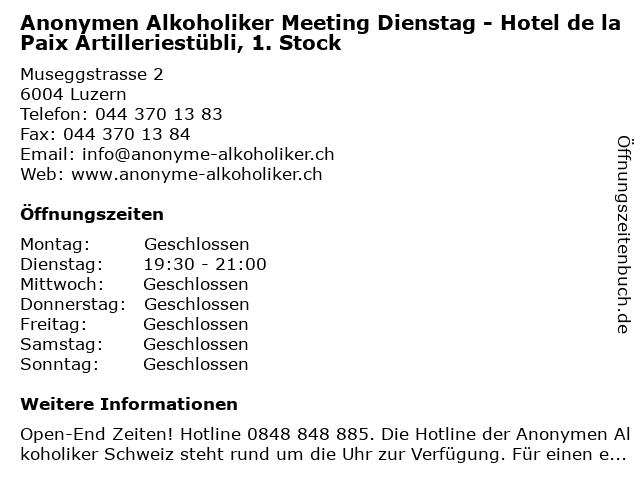 Anonymen Alkoholiker Meeting Dienstag - Hotel de la Paix Artilleriestübli, 1. Stock in Luzern: Adresse und Öffnungszeiten