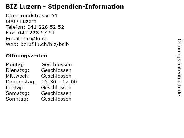 BIZ Luzern - Stipendien-Information in Luzern: Adresse und Öffnungszeiten