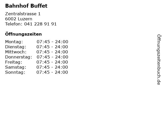Bahnhof Buffet in Luzern: Adresse und Öffnungszeiten
