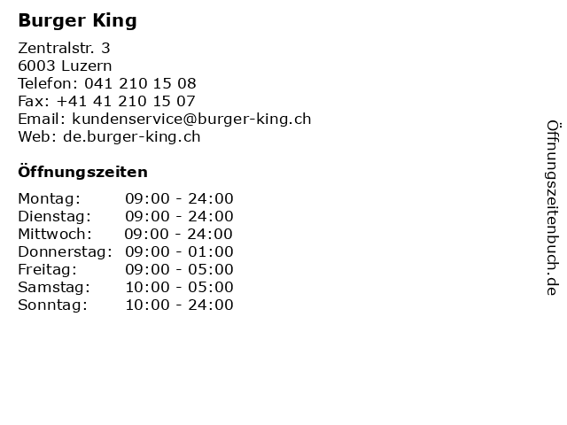 Burger King in Luzern: Adresse und Öffnungszeiten