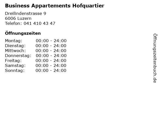 Business Appartements Hofquartier in Luzern: Adresse und Öffnungszeiten