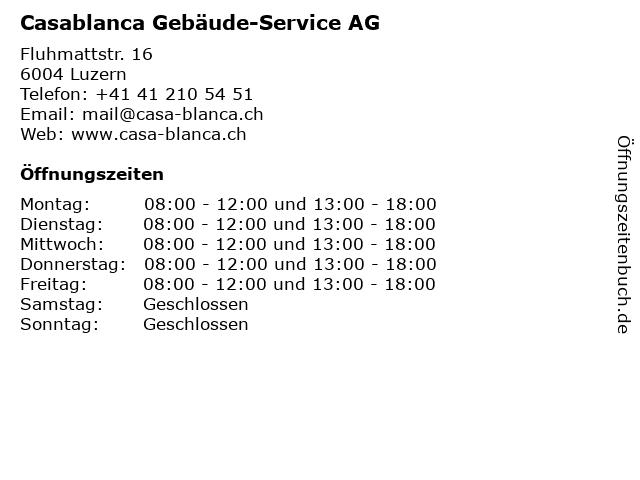 Casablanca Gebäude-Service AG in Luzern: Adresse und Öffnungszeiten