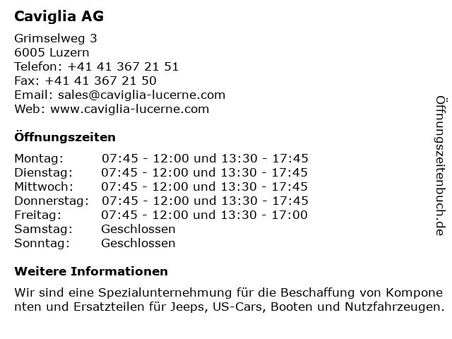 Caviglia AG in Luzern: Adresse und Öffnungszeiten