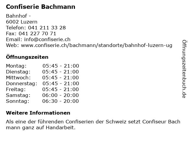 Confiserie Bachmann in Luzern: Adresse und Öffnungszeiten