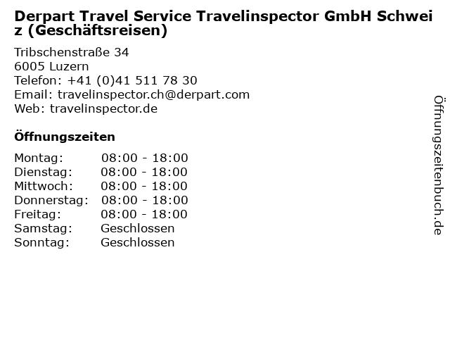 Derpart Travel Service Travelinspector GmbH Schweiz (Geschäftsreisen) in Luzern: Adresse und Öffnungszeiten
