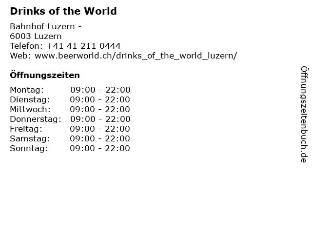 Drinks of the World in Luzern: Adresse und Öffnungszeiten