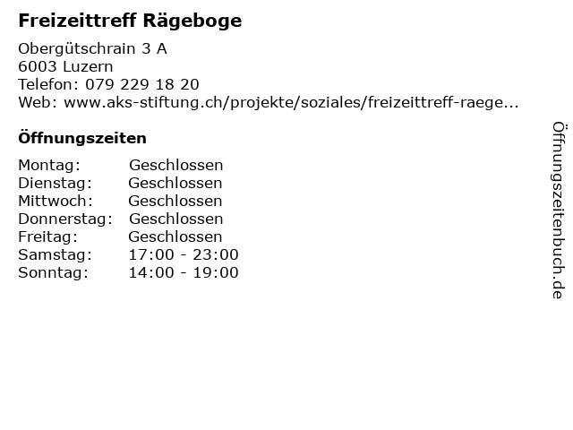 Freizeittreff Rägeboge in Luzern: Adresse und Öffnungszeiten